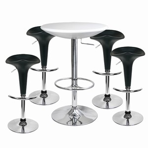 Pod Bar Stool and Podium Table Set Black