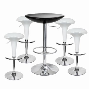 Pod Bar Stool and Podium Table Set White