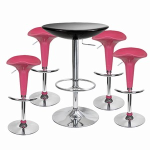 Pod Bar Stool and Podium Table Set Pink