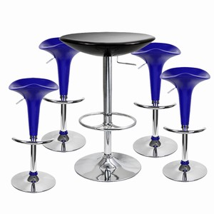 Pod Bar Stool and Podium Table Set Blue