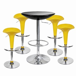 Pod Bar Stool and Podium Table Set Yellow