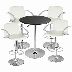 Wishbone Bar Stool and Faux Leather Table White
