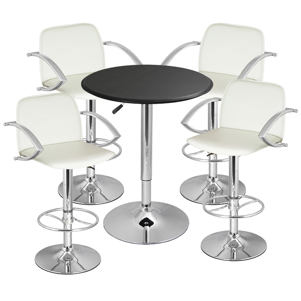 Wishbone Bar Stool And Faux Leather Table White Drinkstuff