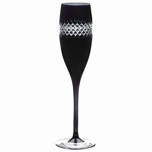John Rocha Black Cut Champagne Flutes 5.3oz / 150ml (Pack of 2) Image