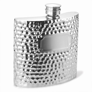 Hammered Style Pewter Hip Flask 6oz / 170ml