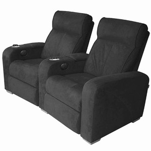 Premiere Home Cinema Seating - 2 Seater Black Microfibre
