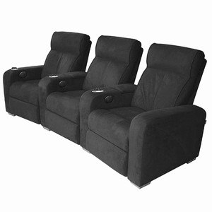 Premiere Home Cinema Seating - 3 Seater Black Microfibre
