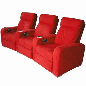 Premiere Home Cinema Seating - 3 Seater Red Microfibre