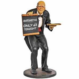 Butler Lifesize Statue with Menu Board