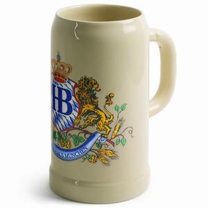 Hofbrauhaus Ceramic Beer Stein Lion Motif 35oz / 1ltr