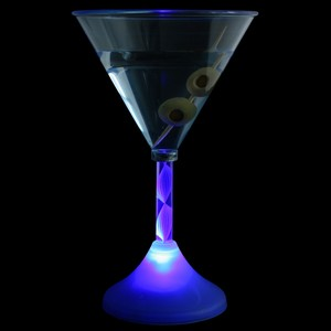 Flashing LED Blue Martini Glass 6oz / 170ml