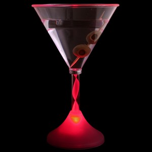 Flashing LED Pink Martini Glass 6oz / 170ml