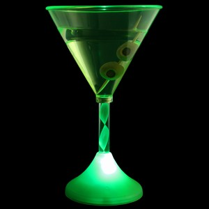 Flashing LED Green Martini Glass 6oz / 170ml