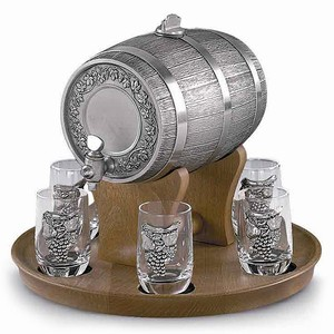 Schnapps Pewter Barrel Gift Set