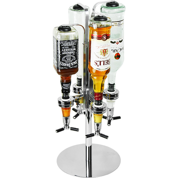 4 Bottle Stand Wall Mounted Rotary Drink Optic Dispenser Bar Party Drink Home UK