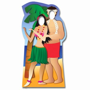Hawaiian Couple Stand-In Cardboard Cut Out