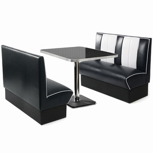 Retro Diner Booth Set Black