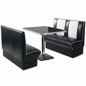 Retro Diner Booth Set Black