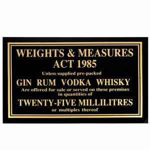 25ml Weights & Measures Act Sign