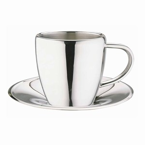 Stainless Steel Espresso Cup & Saucer CCA-10S 4oz / 100ml