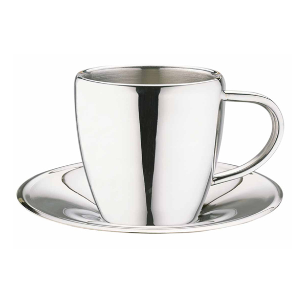 edc23a39c69 Stainless Steel Espresso Cup & Saucer CCA-10S 4oz / 100ml | Drinkstuff ®