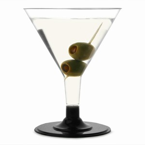 Disposable Martini Glasses Black 5.3oz / 150ml