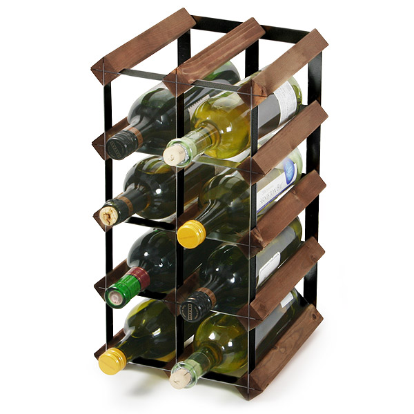 Traditional Wooden Wine Rack - Dark Oak and Black Steel | Drinkstuff ®