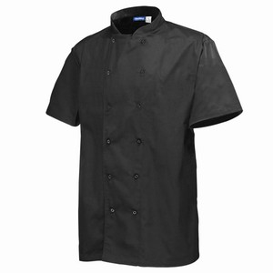 Chef's Basic Stud Short Sleeve Jacket Black Large