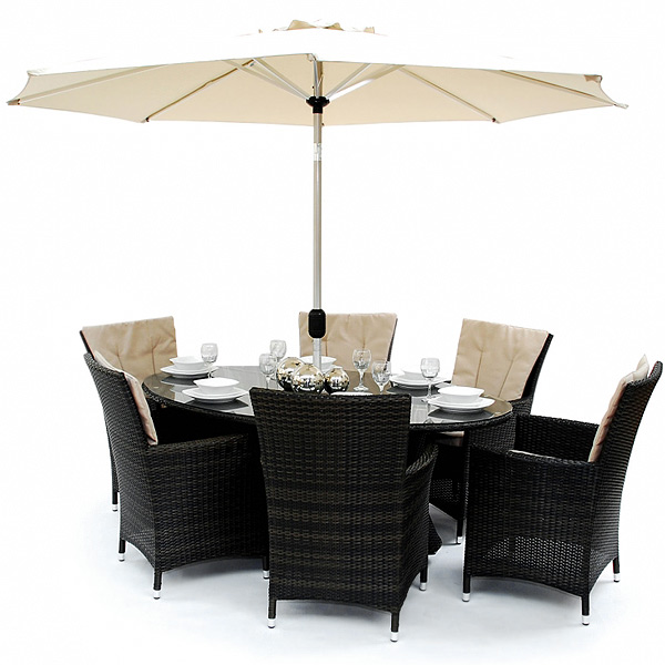 Es Melbourne Patio Oval Dining Table Set Drinkstuff