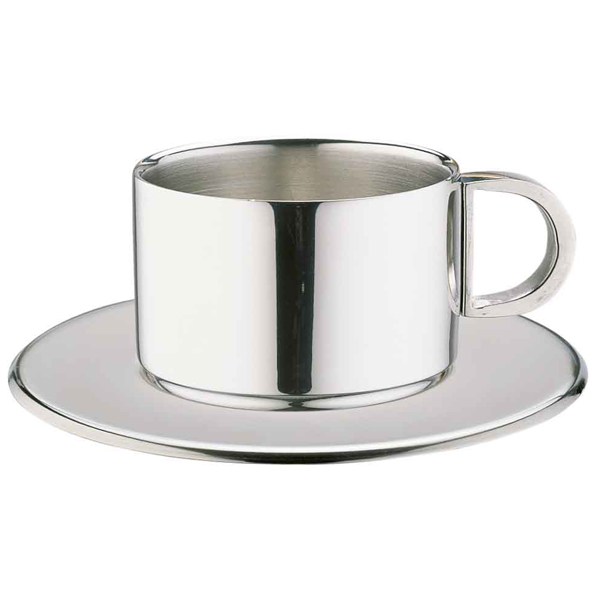 Stainless Steel Cuccino Cups Saucers Ccd 20s 7oz 200ml
