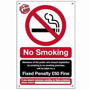 No Smoking Fixed Penalty £50 Fine Interior Notice