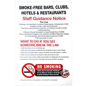 No Smoking Staff Guidance Interior Notice