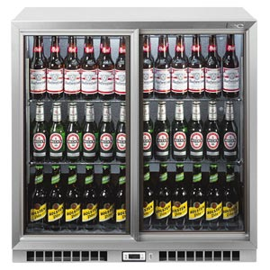 Lec BC9027G Sliding Door Bottle Cooler Silver