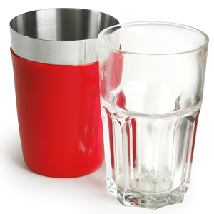 Vinyl Mini Boston Cocktail Shaker Red