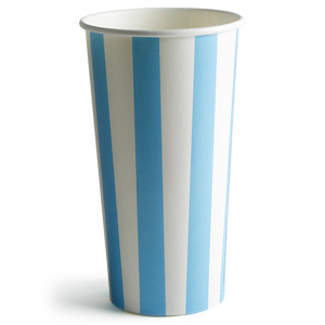 Blue Striped Milkshake Paper Cups 16oz / 450ml
