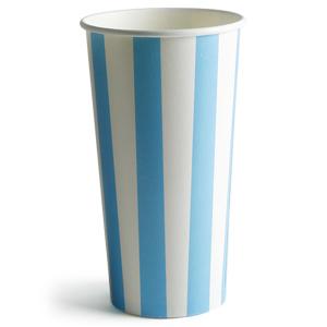 Blue Striped Milkshake Paper Cups 16oz / 450ml