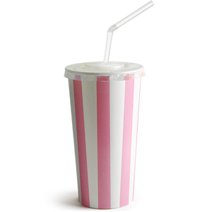 Pink Striped Milkshake Paper Cups Set 16oz / 450ml