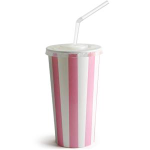Pink Striped Milkshake Paper Cups Set 16oz / 450ml