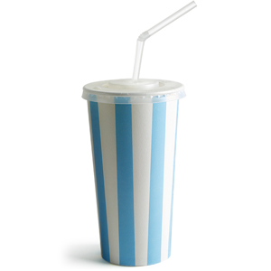 Blue Striped Milkshake Paper Cups Set 16oz / 450ml