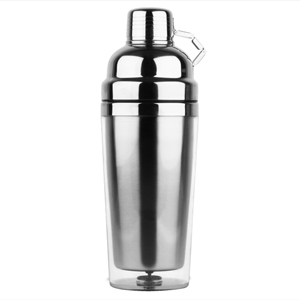 Stainless Steel Double Wall Cocktail Shaker 24oz Clear