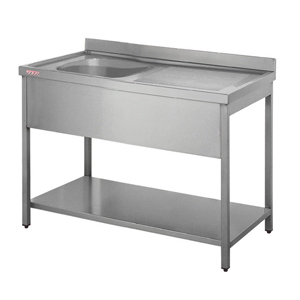 Inomak Stainless Steel Sink on Legs LA5111L - Single Bowl, Right Hand Drainer