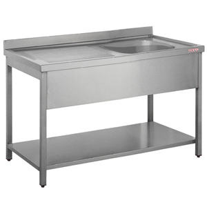 Inomak Stainless Steel Sink on Legs LA5141R - Single Bowl, Left Hand Drainer