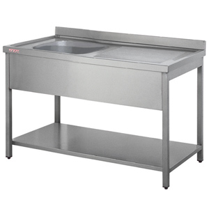 Inomak Stainless Steel Sink on Legs LA5141L - Single Bowl, Right Hand Drainer