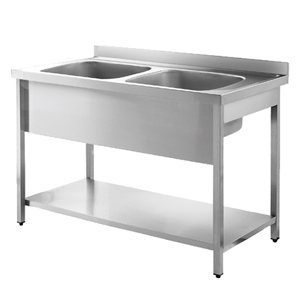 Inomak Stainless Steel Sink on Legs LA5142C - Double Bowl, No Drainer