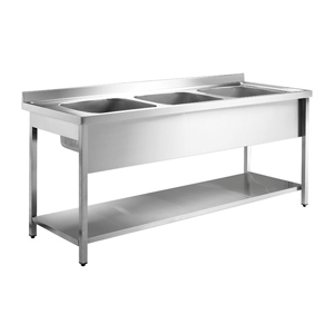 Inomak Stainless Steel Sink on Legs LA5192C - Double Centre Bowls, Side Drainers