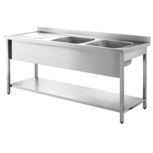 Inomak Stainless Steel Sink on Legs LA5192R - Double Bowl, Left Hand Drainer