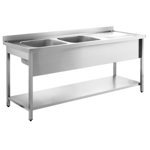 Inomak Stainless Steel Sink on Legs LA5192L - Double Bowl, Right Hand Drainer