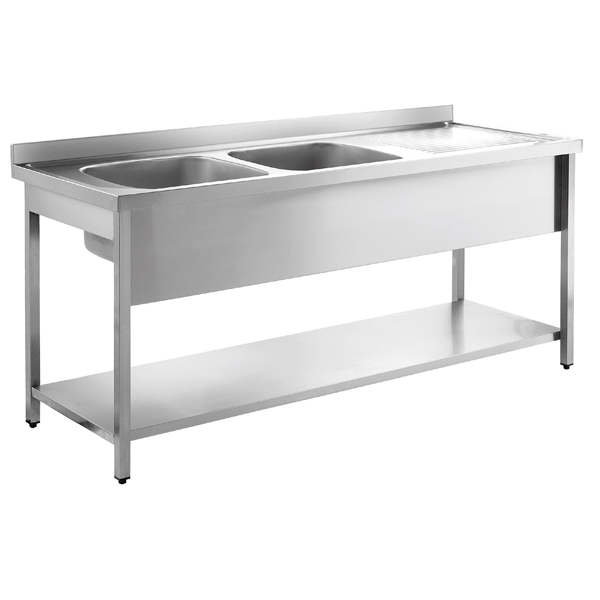 Inomak Stainless Steel Sink on Legs LA5192L - Double Bowl, Right Hand ...