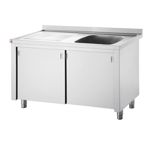 Image of Inomak Stainless Steel Sink on Cupboard LK5141R - Single Bowl, Left Hand Drainer