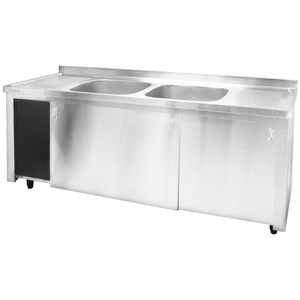 Inomak Stainless Steel Sink on Cupboard LK5192C - Double Centre Bowls, Side Drainers